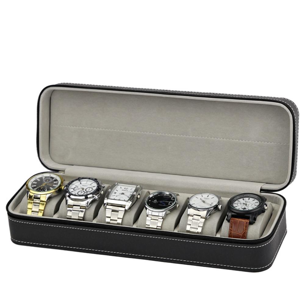 Portable Watch Box Organizer PU Leather Casket with Zipper Classic Style 6 Grids Multi-Functional Bracelet Watch Display Case
