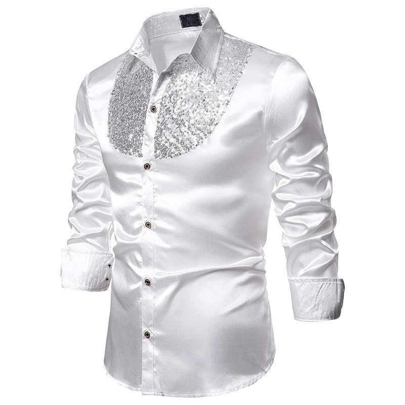 MJARTORIA 2019 Мужская Роскошные пришивания платье рубашки с длинным рукавом шелк сатин Shiny Disco Party Shirt Men сорочку балету Рубашки