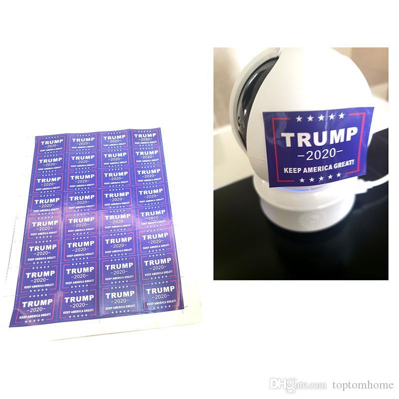 32 pcs / set Entrega rápida presidente Donald Trump 2020 engomada de la cara de la bandera de Estados Unidos Elección Ambiental Pegatinas