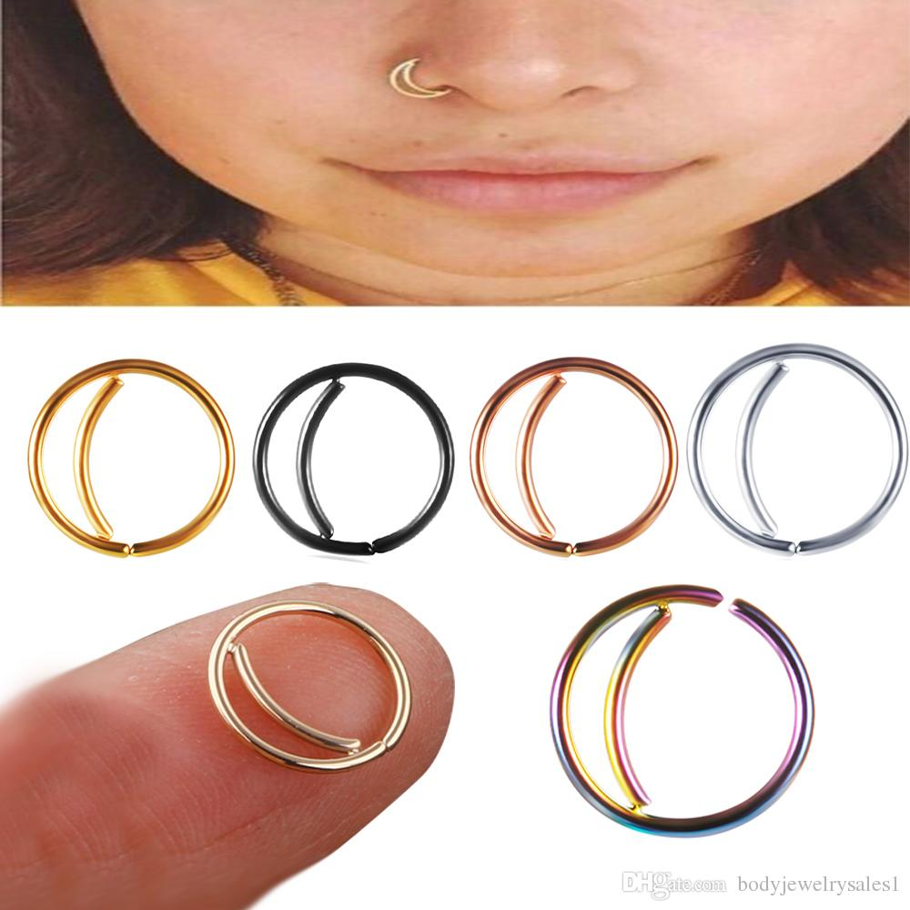 2020 Stainless Steel Moon Nose Ring Hoop Indian Septum Rings Nose