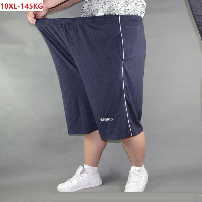 Sommer Männer plus Größensporthose Baumwolle 10XL lose Stretch-Shorts Training Fitness Übermaß Elastizität lose Shorts marineblau T200422