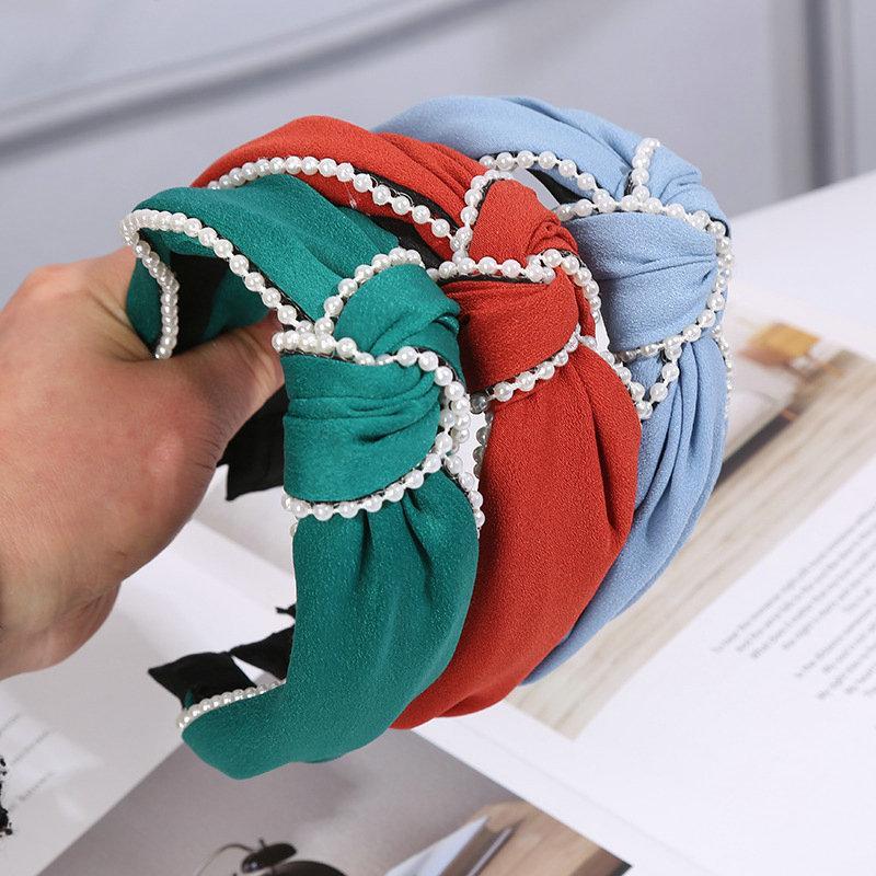 Bandas de cetim Cruz Pérola Headband Hairbands Para Lady Elastic Faixa de Cabelo Pérola Cabeça Camo das senhoras do estilo de cabelo UQctu