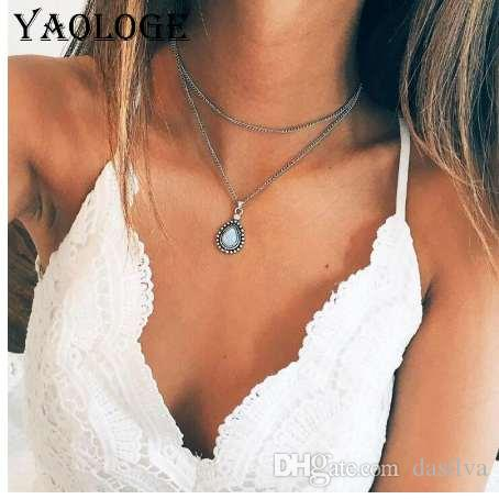 YAOLOGE Hot Sale Simple Double Clavicle Chain Necklace Fashion Drop Pendant Inlaid Exquisite Moonstone Jewelry For Women New