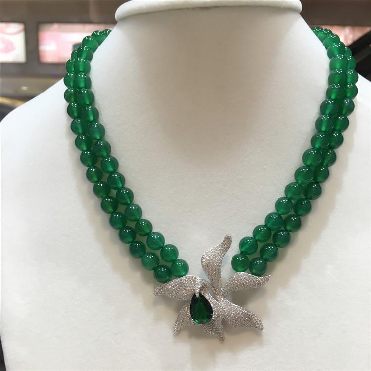 la moda de las mujeres 2rows naturales jade verde micro circón incrustaciones de joyería de moda collar de hebilla