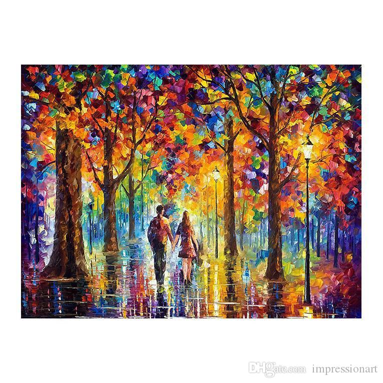 36x48 Pure hand-painted canvas painting impressionistic pallet knife adornment style landscape romantic lovers walking in the street