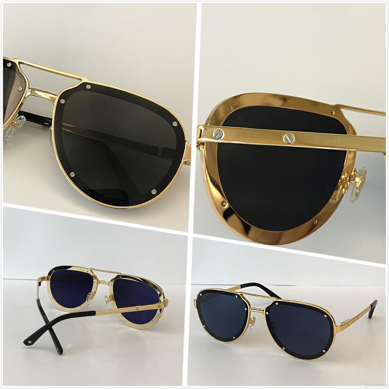 Vintage Marca Designer Sunglasses para Homens Mulheres Luxo Retro Rimless Quadro Eyewear Forma de Ouro Top Quality Óculos UV 400 Lente 01945
