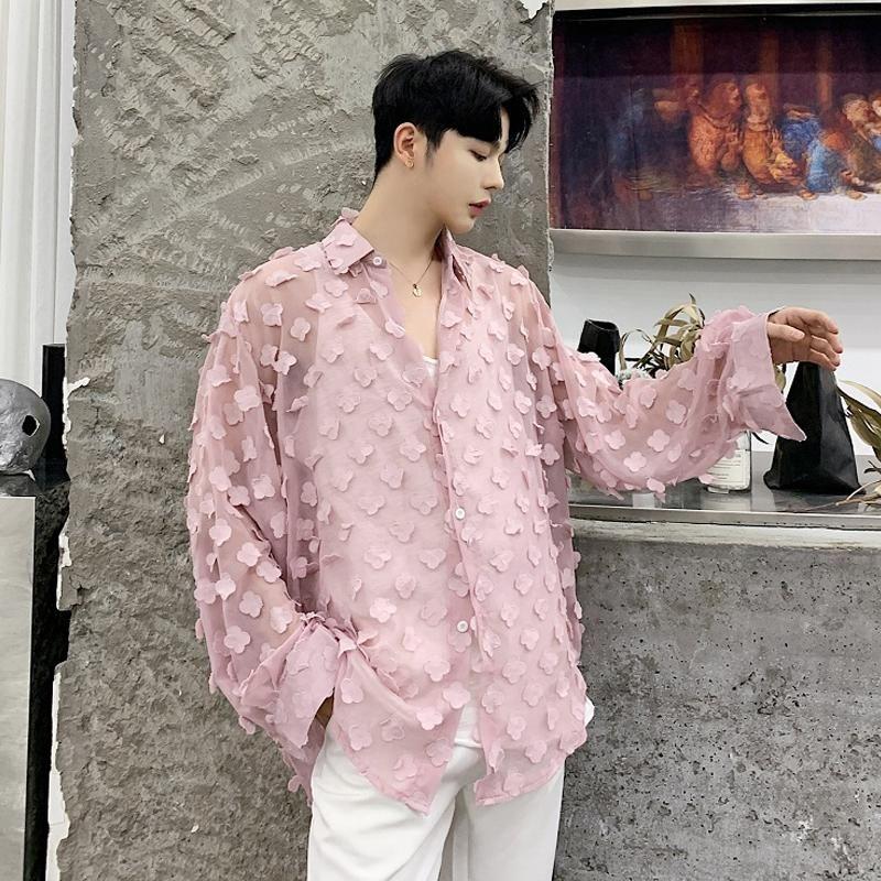 Bluse Fashion Herren Casual Loose Plus size Gedruckt Perspektive Langarm Knopf Top rosa weiß Bluse Stoff Casual Kragen