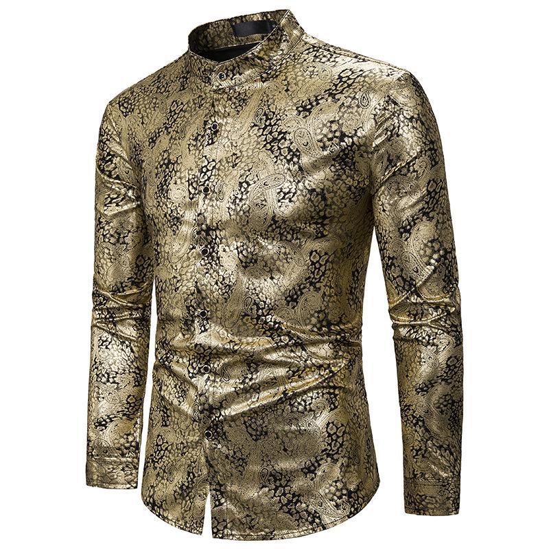 Shiny Gold Paisley Shirt Men 2020 Brand Nightclub Mandarin Collar Dress Shirt Mens Party Bar Wedding Tuxedo Shirts Camisa Hombre