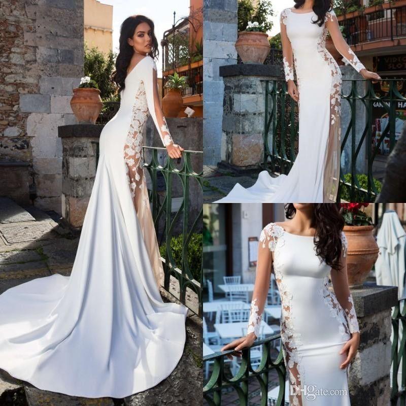 See Through Bohemian Satin Mermaid Wedding Dresses 2019 New Long Sleeve Lace Appliqued Wedding Dress Sweep Train Garden Beach Bridal Gowns