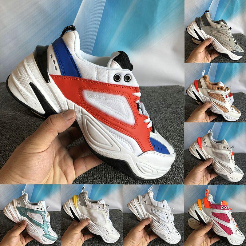 Hot meilleure qualité M2K Tekno chaussures orange noir trapu mens blanc kaki refroidir teinte platine blanc bleu femmes occasionnels de luxe de la mode chaussures de sport