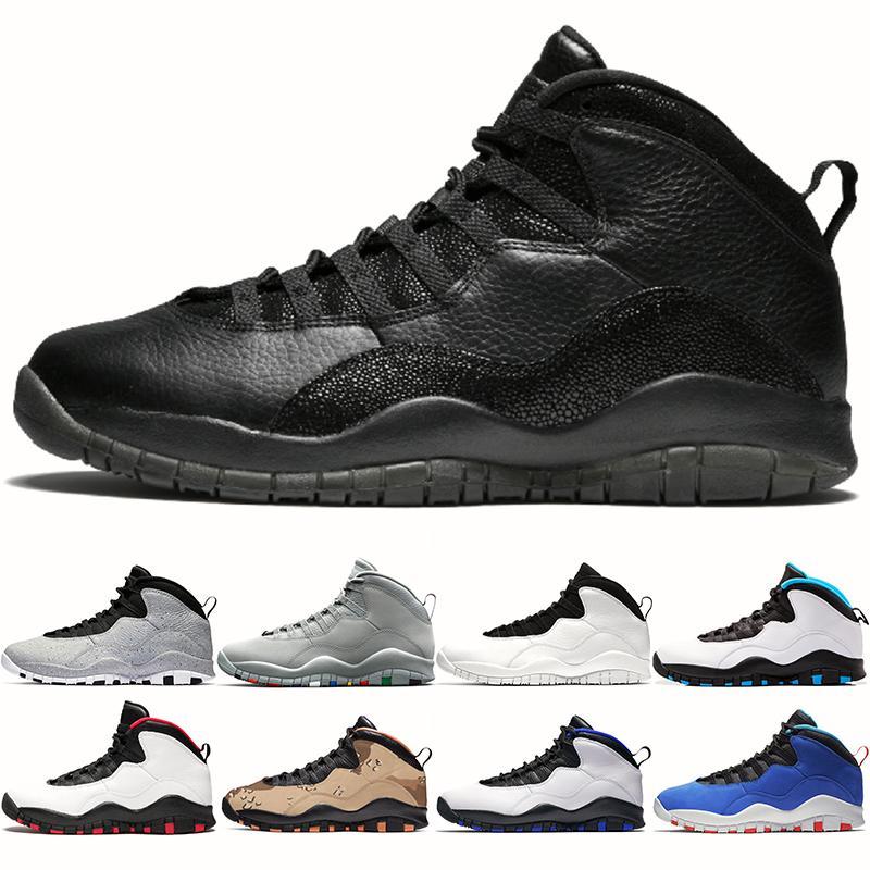 Nike Air Jordan Retro Jumpman 10 Мужские ботинки баскетбола 10s Mens тренеров Черный Чикаго Прохладный Серый Desert Camo Powder Blue Мужская спортивная обувь Sneaker Размер 40-47