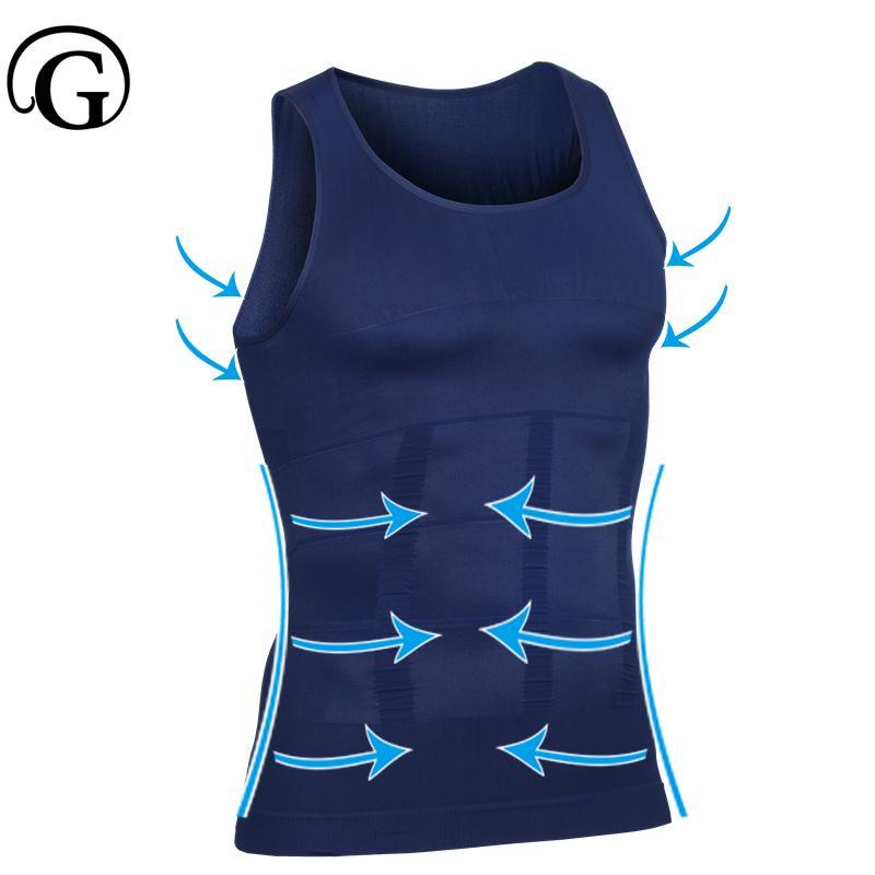 Minceur Posture Tops Corriger Undershirt PRAYGER Corset Hommes taille Entraîneur T-shirts sans manches de compression à bosse