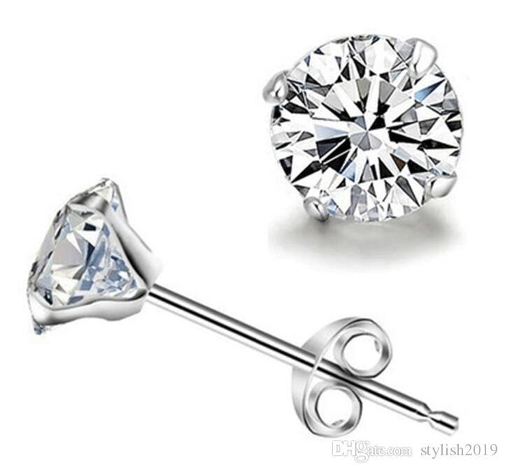 925 sterling silver stud earrings Luxury Crystal Zircon Stud Earrings for men women Elegant noble earring jewelry high quality WCW365