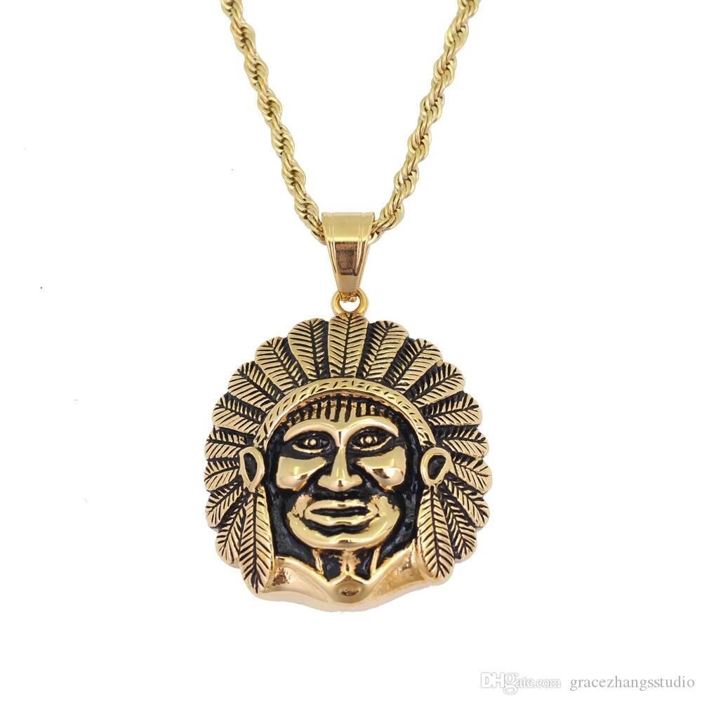 hip hop Indian chief pendant necklaces for men Ethnic style golden luxury necklace Stainless steel Cuban chains jewelry free shipping