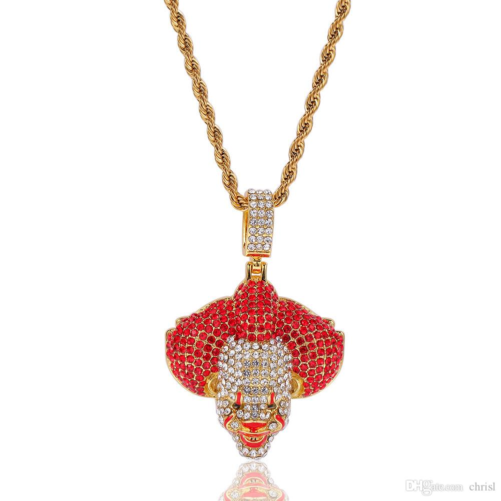 Wholesale Cheap Dripping Oil Clown Pendant Necklace Iced Out Micro Paved Rhinestone Men Hip Hop Jewelry