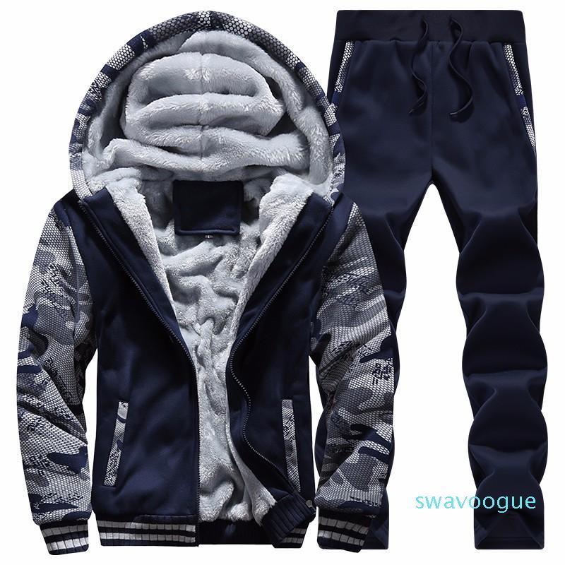 Uomini all'ingrosso-Felpe Tute inverno caldo 2020 Sport Tuta Moda Hoodies Mens casuali Set vestiti cool Designer Track Suit D62 XM01