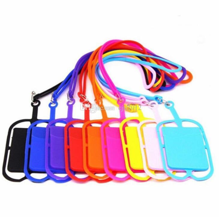 Silicone Lanyards Correia de pescoço Cartão Sling Colar chaveiro Strap titular para iphone Samsung Huawei Universal Mobile Phone