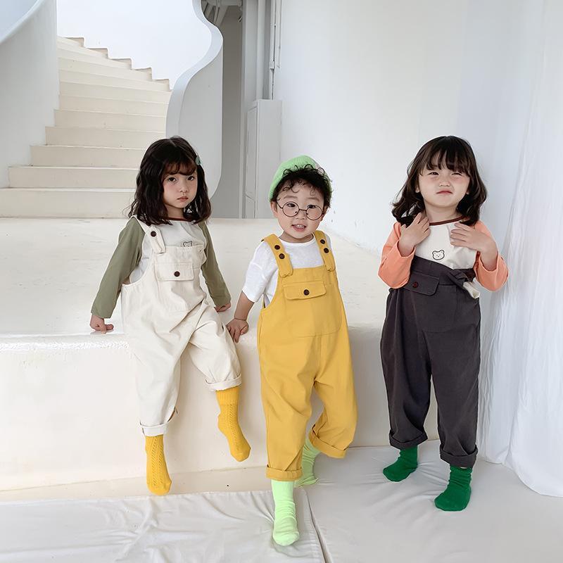 Frühling und Herbst Kinder Kinder beiläufige Overalls Junge Mädchen 3 Farben Chinos Hose mit Klammern Kinderkleidung Y200704