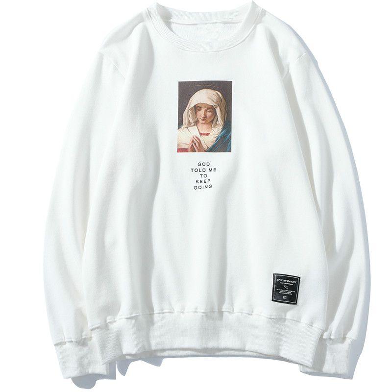 Мужские толстовки толстовки Осенняя мода уличная одежда мужской хип-хоп Мэри молится с капюшоном вскользь пуловеры в Японии стиль