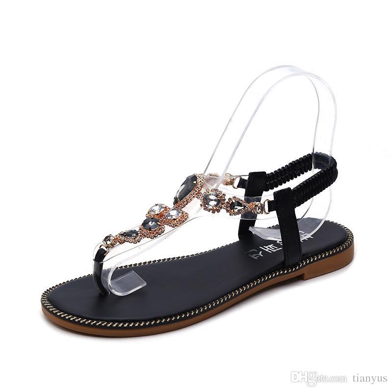 Woman Sandals Shoes 2019 Summer Rhinestones Bohemia Flat Sandals Ladies Crystal Flat Roman Beach Flip Flops Q-225
