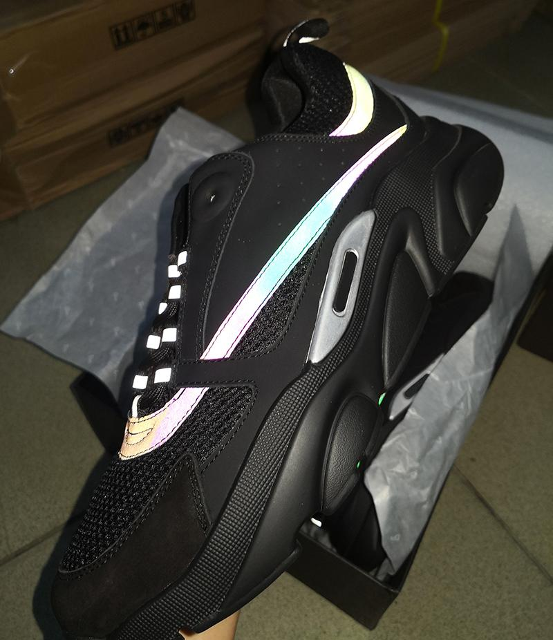 Nouvelles couleurs Homme B22 Sneaker en cuir blanc Chaussures de sport en cuir vachette Top Knit technique Femmes plateforme Chaussures Bleu Gris Courir Formateurs avec boîte