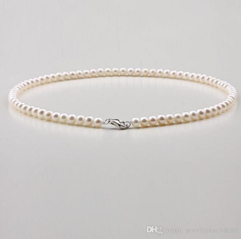 5-6 mm natural Japan Akoya white pearl necklace 18inch
