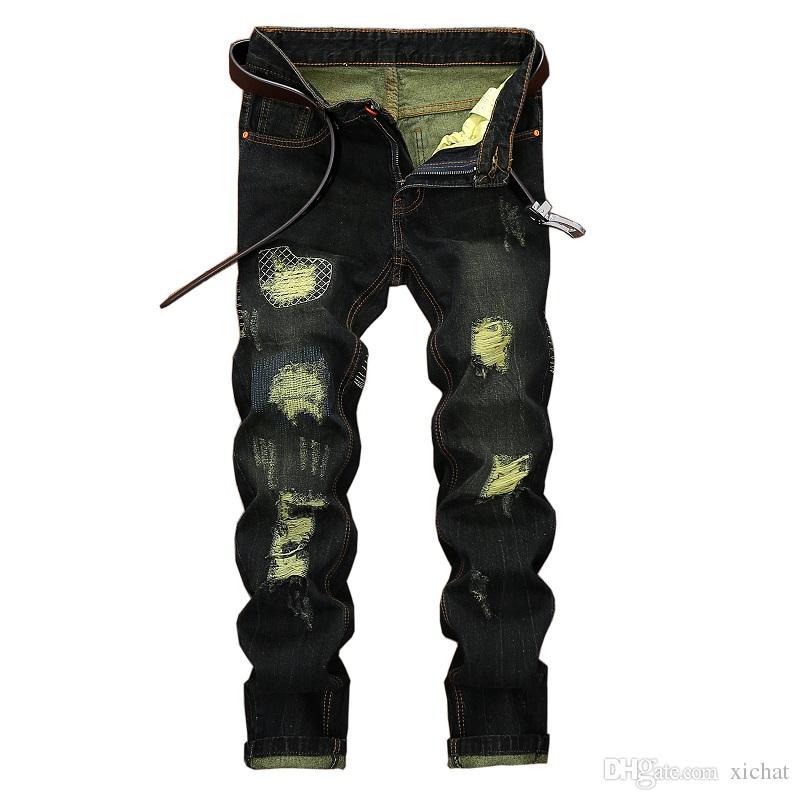Único para hombre angustiado rasgado pierna recta Jeans diseñador de moda retro lavado bordado blanqueado Streetwear pantalones de mezclilla negro JB164