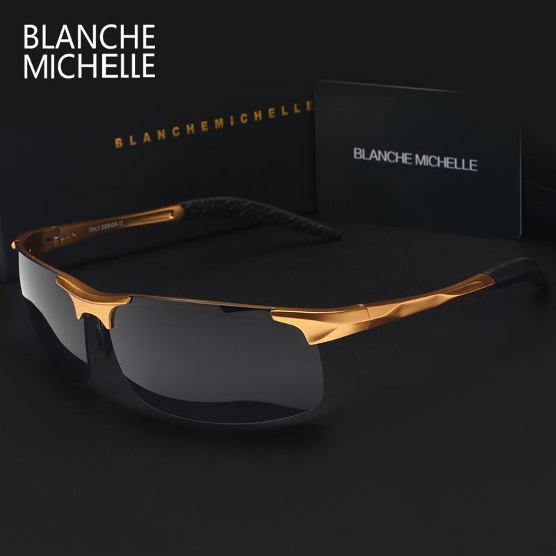 높은 품질의 초경량 알루미늄 마그네슘 스포츠 선글라스 편광 된 남자 Uv400 사각형 골드 야외 드라이브 태양 안경 Y19052001