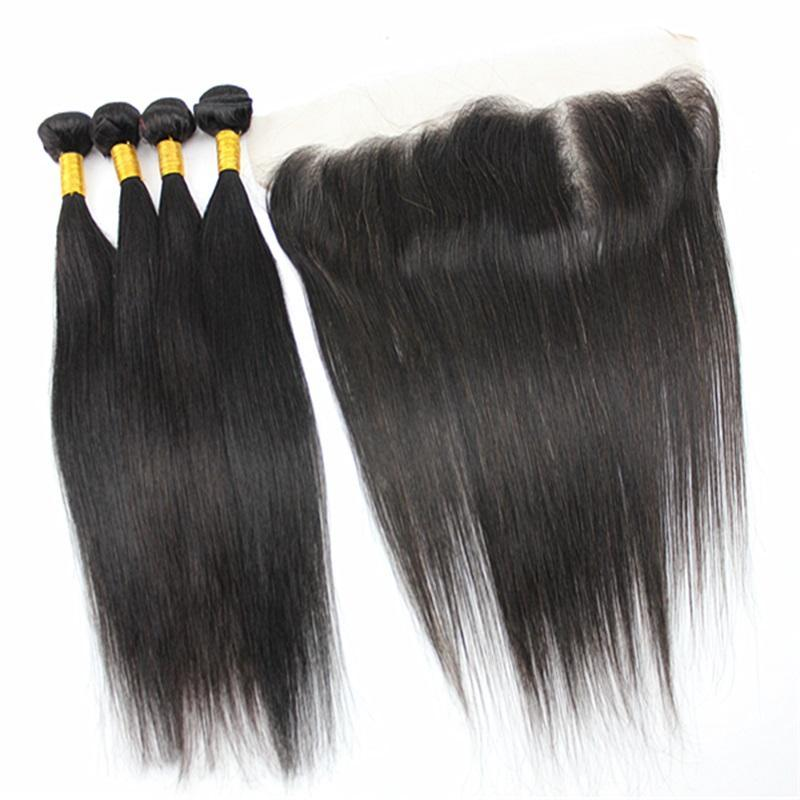 C 50g /Bundle Straight Hair 3 Bundles With 13x4 Closure Ear To Ear Remy Hair 100 %Brazilian Indian Human Hair Black Color 8 -28inch