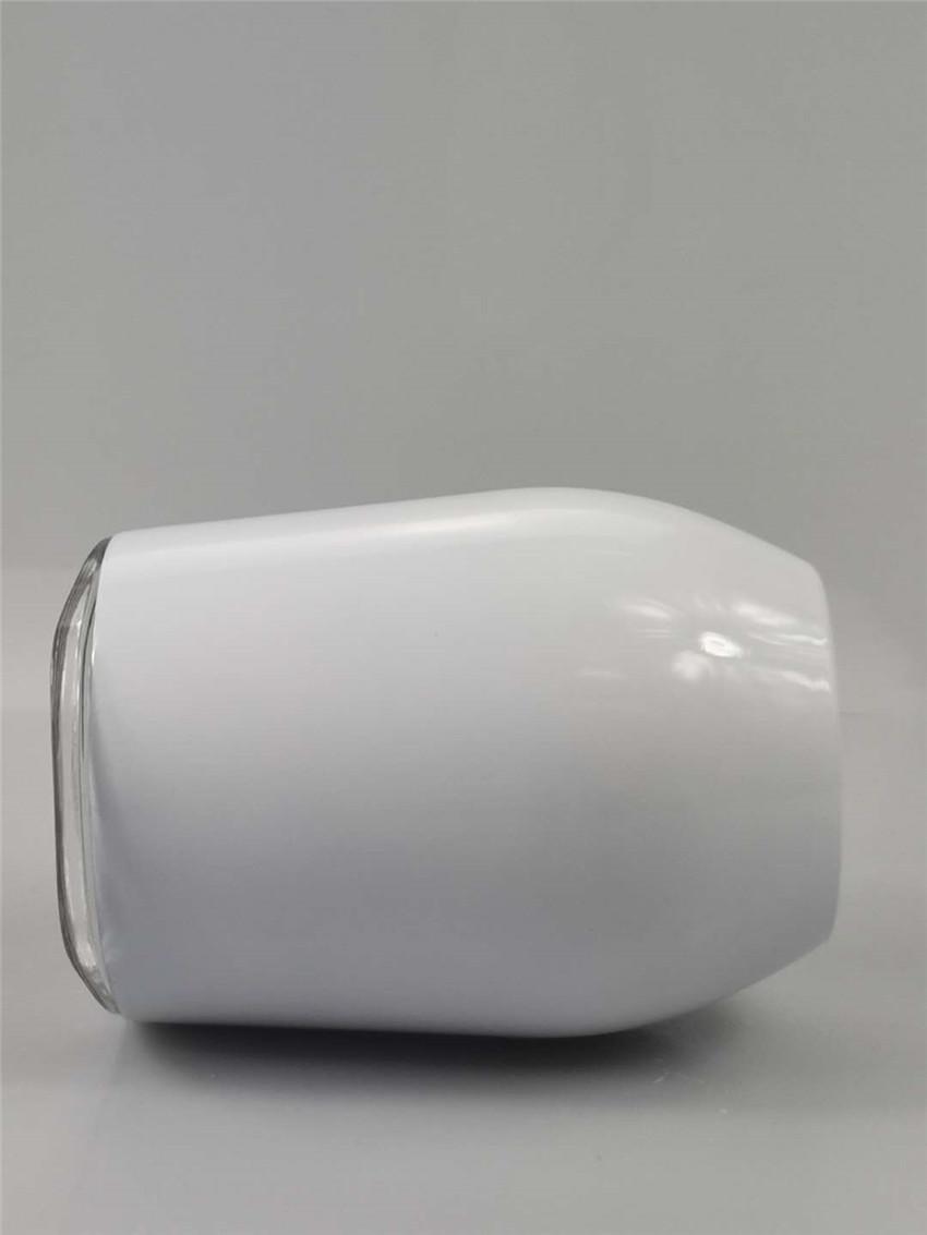 12OZ الفولاذ المقاوم للصدأ النبيذ كؤوس للDIY التسامي فراغ الكؤوس البيض على شكل إبريق القهوة النقل الحراري تخصيص مع غطاء A05