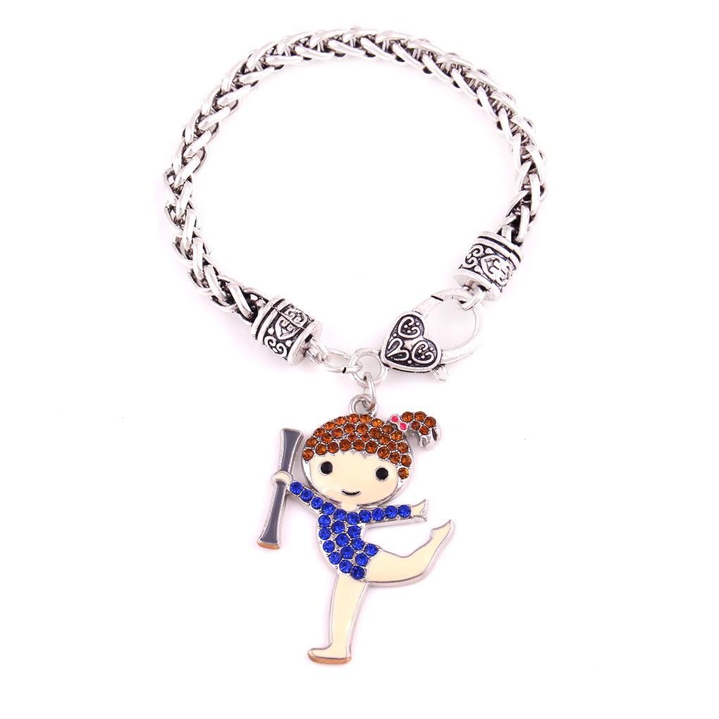 Fashion Studded With Crystal Gymnastics Girl Charm Pendant Cartoon Girl Sports Wheat Chain Beacelet
