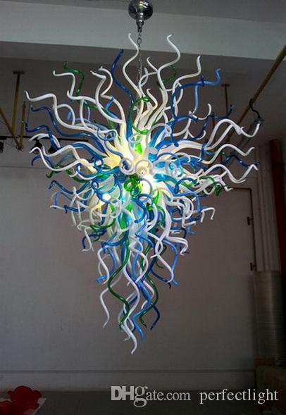 Moderne Luxus-geblasenem Glas LED Kronleuchter Heim Wohnzimmer-Kunst-Dekoration Energieeinsparung Lichtquelle Chihuly Stil Kronleuchter