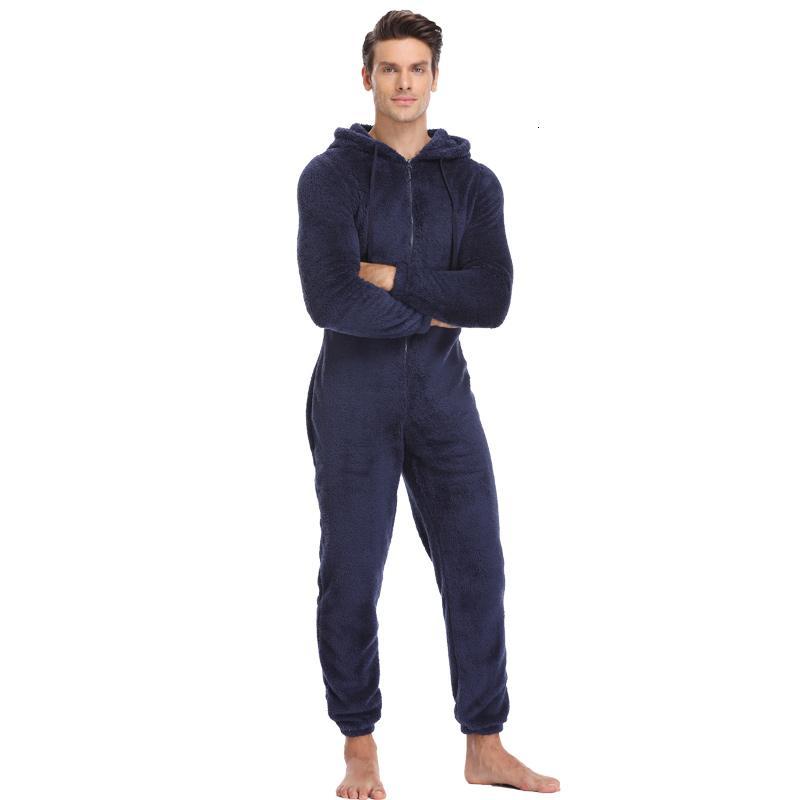 Les hommes en peluche Toison pyjamas d'hiver chauds Pyjama Costumes Total solides de nuit Couleur Kigurumi capuche pyjama pour adultes MenLY191112