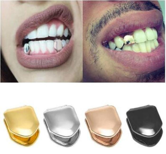 Kadınlar Erkekler Moda Vampire İçin Doğrudan Satış Tekli Metal Diş Grillz Goldsilver Renk Diş Grillz Üst Alt Dişler Caps Vücut Takı