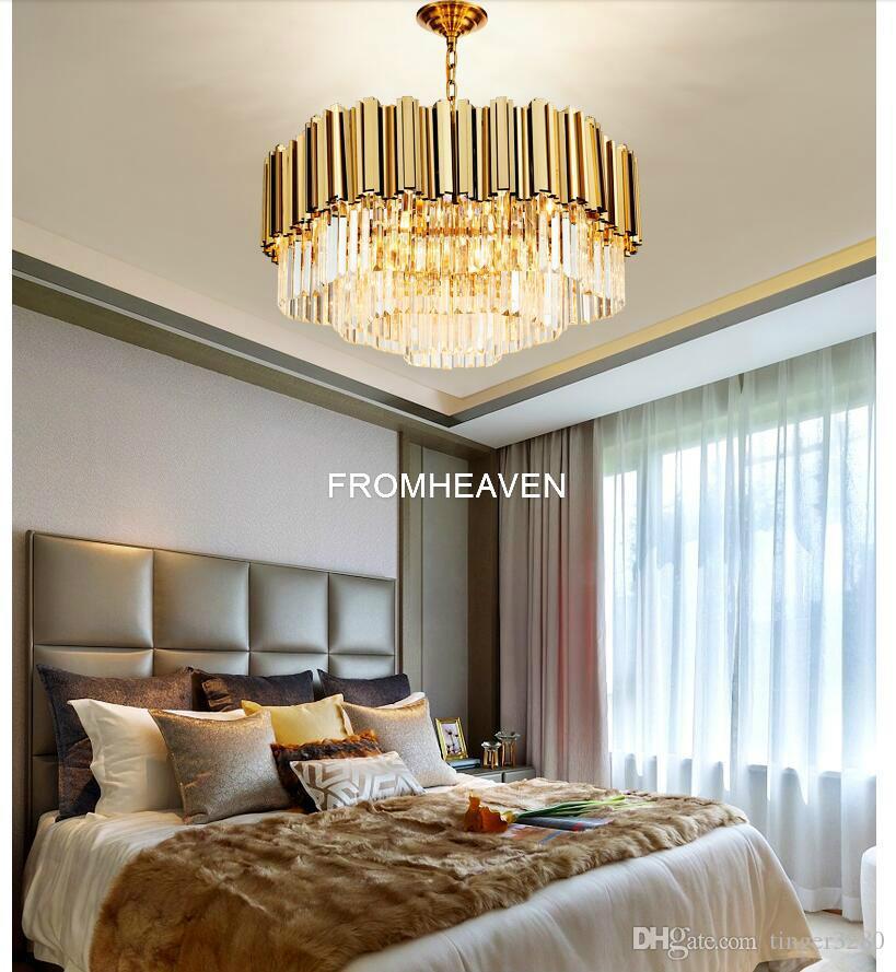 İskandinav Kristal Sarkıt Modern Altın Paslanmaz Çelik Mutfak Asma lambalar Living kolye Işık Restoran Yatak Odası Yemek
