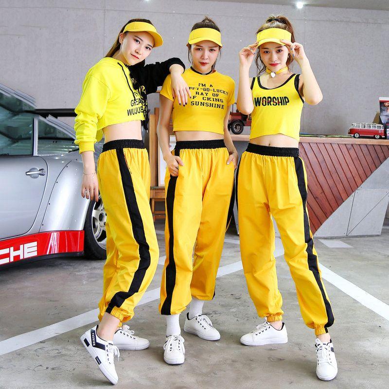 Hip Hop Costume Pantalons Top Jaune Set Cheerleader Femmes Jazz Street Danse Vêtements scène Outfit Boîte de nuit Chanteur Dj Ds Wear DT997