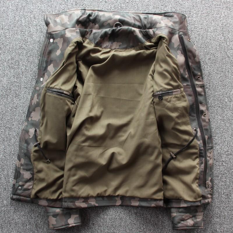 Mens Exército Verde Genuine Leather Jackets Outono motociclista Pilot Jaqueta de couro Novo Design 2020 Casaco de Inverno Homens Jaqueta Masculina XXXL