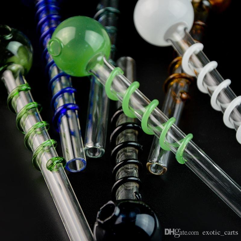 14cm verre de brûleurs à mazout tabac à pipe Pipes pipe cuillère verre Pyrex huile Pipes brûleur Pipes unique avec décor en spirale pour fumeurs SW26