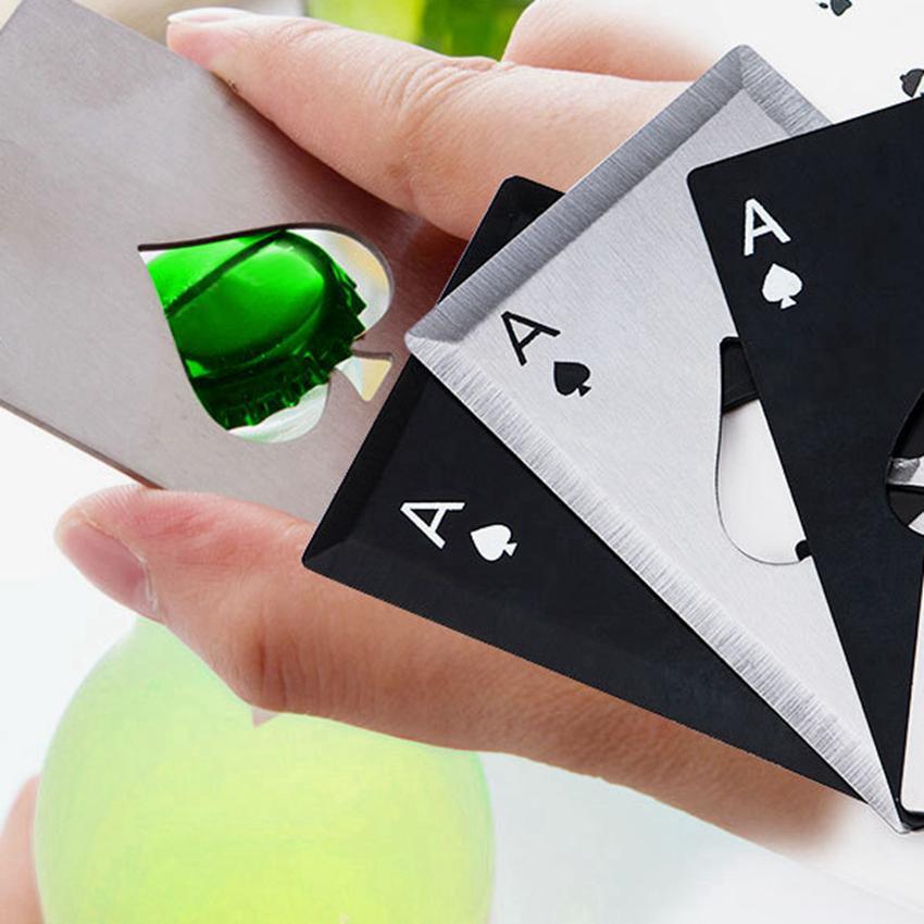 스테인레스 스틸 병 오프너 맥주 오프너 포커 카드 스페이드 소다 병 캡 오프너 바 도구 주방 액세서리 ZZA1101