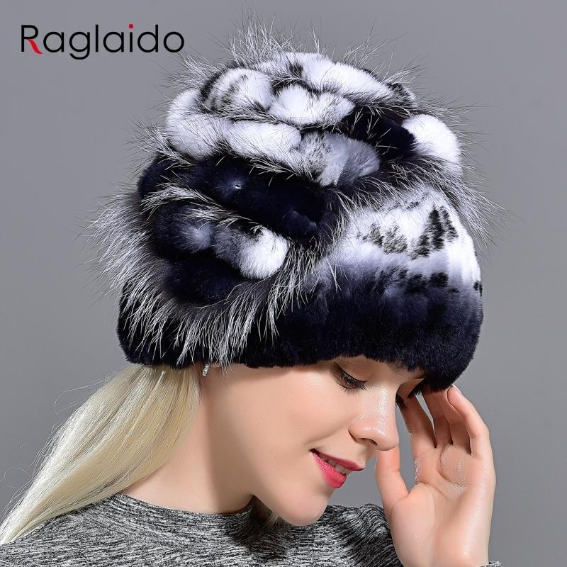 Women Rabbit Fur Hat Winter Warm fashion Lady Beanie Hat fox fur hats Handmade knitted hat headwear gorro Caps LQ11143 Y191112
