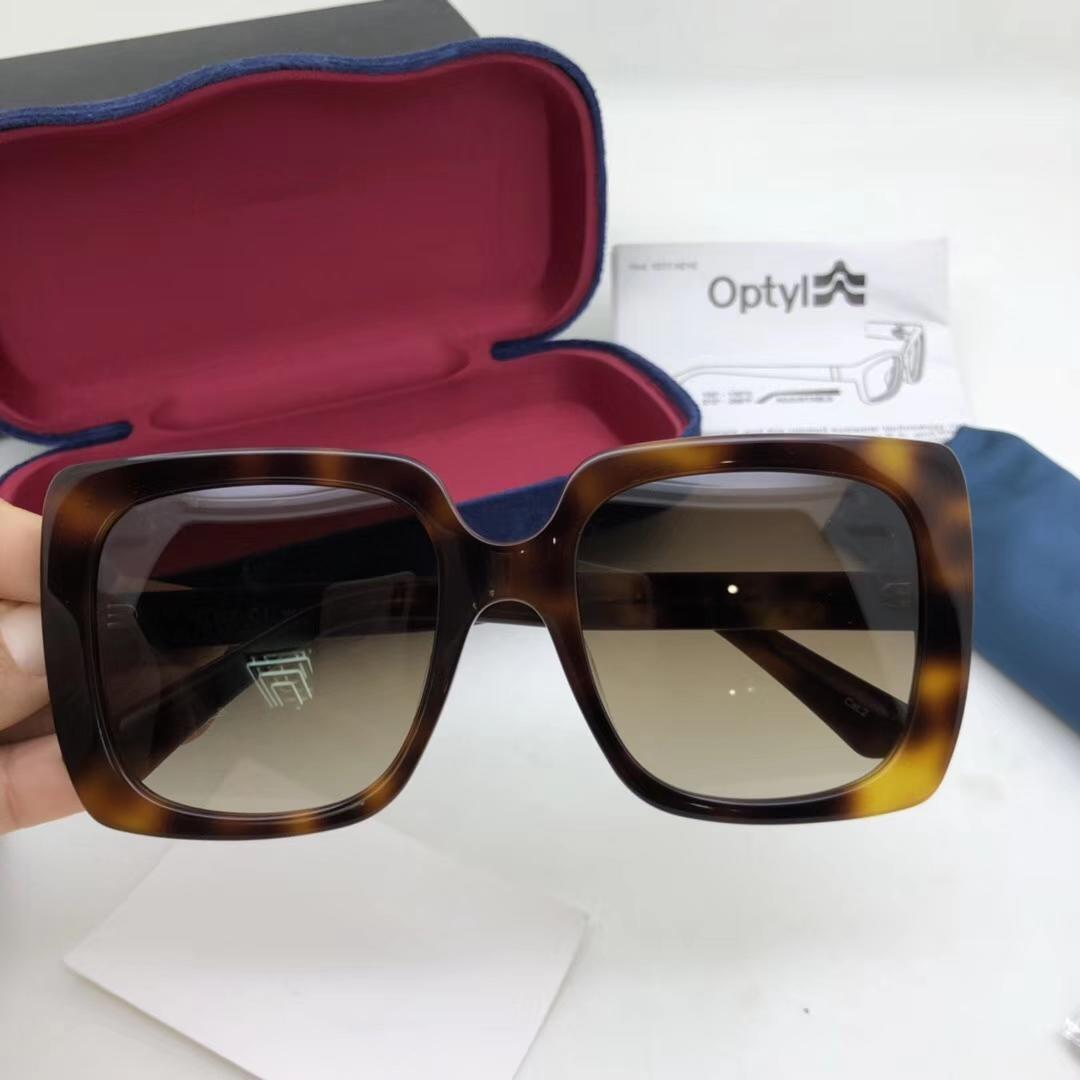 Cuero de lujo de las gafas de 0418 marco cuadrado de color sólido simple del estilo de la venta de alta calidad gafas de protección UV400 de los vidrios con la caja