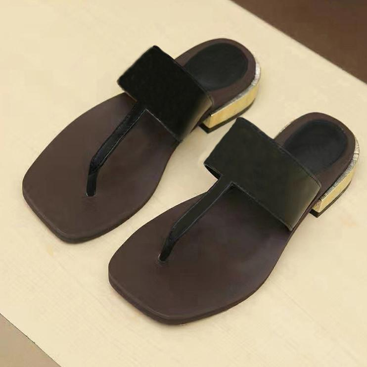Shoes Women Casual Slipper 100% Real Leather Flip Flops Sandals Summer Slides Slippers Metal Chain Slippers SZ 5 - 11