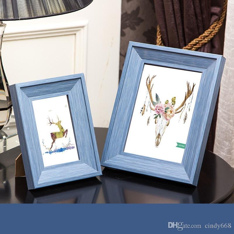 2 pezzi Combinazione Photo Frame 3 colori 5 pollici + 7 pollici resina cornice per Desktop Office Decoration Frame regalo per gli amici