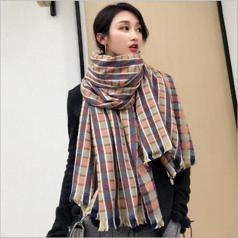 Nouveau style écharpe Pashmina Femmes treillis épais garder écharpe au chaud écharpes de mode châle simples et pratiques