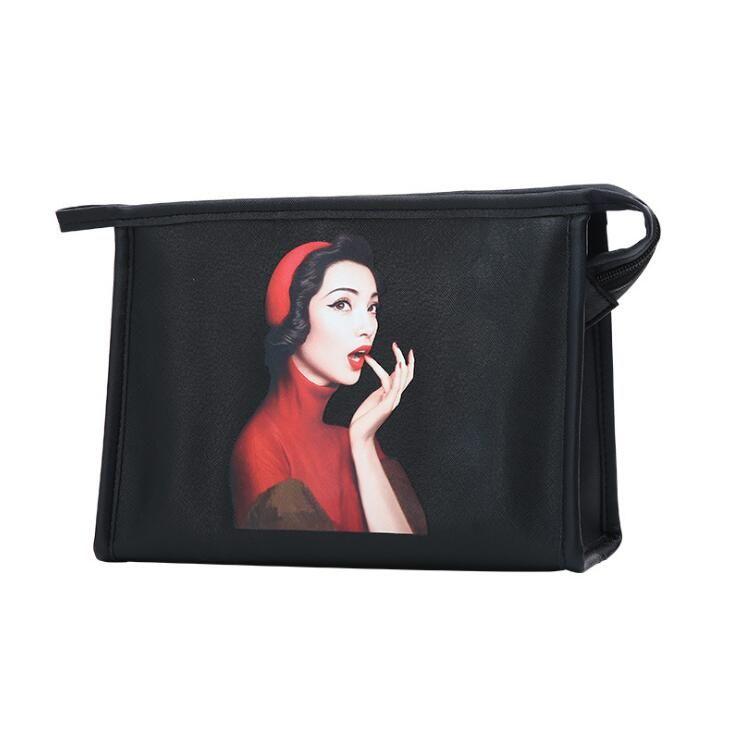 여성 워시 가방 핸드백 대용량 방수 패턴 화장품 가방 여성용 휴대용 여행 스토리지 가방