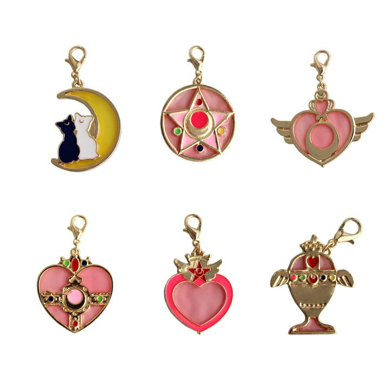 12pcs/ lot fashion jewelry accessories metal enamel card captor sailor moon star wand heart bag charm accessories