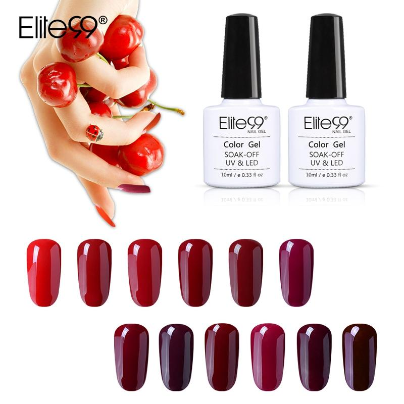 Elite99 10ml Wine Red Color UV Nail Gel Polish Manicure Soak Off Nail Gel Varnish Hybrid Semi Permanent Lacquer For Art