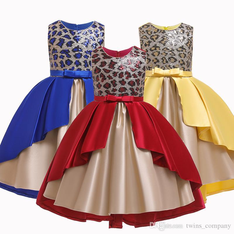 Kid Girls Fluffy Irregular Long Dress for Flower Girl Dresses Wedding Birthday