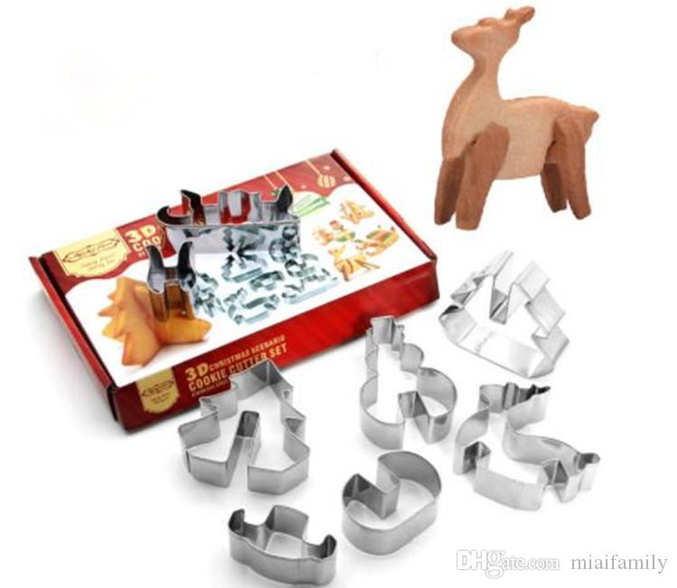 3D DIY stainless steel cookie mould Double sugar cake pan Christmas theme metal cake cutters mould 8 pcs/set DHL free