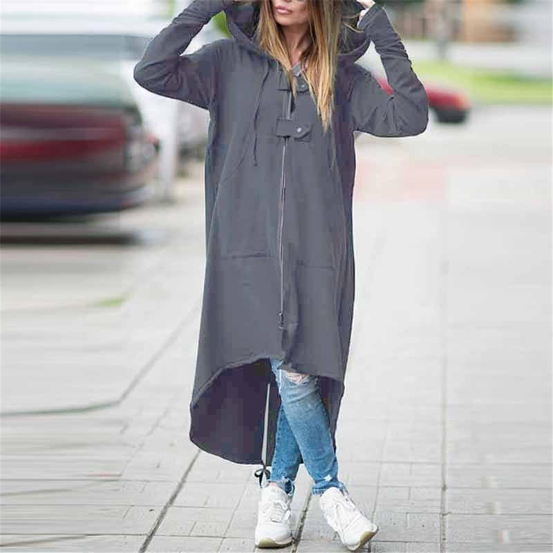 Новые Длинные плащи для женщин Zipper Теплого капюшона Нерегулярных Длинных пальто высокого качество Ветровка Outwear Feminino